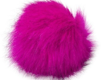 Extra Large Imitation Fur Faux Fuchsia Black Fur Pom Pom Ball with Loop for Craft Projects Hat Decoration Knitting Crochet 127mm 5 inches