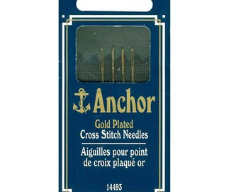 Needles for Cross Stitch Anchor Gold Plated Large Eye 4 Needles Size 26