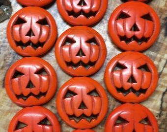 4 Orange Halloween Jack o Lantern Pumpkin Medium Beads Magnesite Stones 20mm 4 pcs