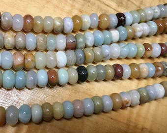 Amazonite Black Gold Gemstone Rondelles 8x5mm Approx 39 pcs per 8 inch strand