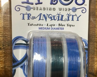 Trios Tranquility Special Collection .019 Beading Wire Pack Tanzanite Lapis Blue Topaz 49 Strand 3 spools 10 Ft each spool