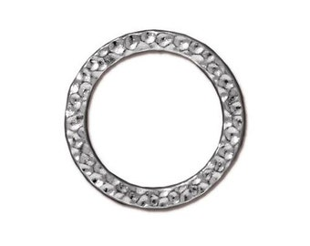 Large Hammertone Flat Closed Ring TierraCast Lead Free Pewter 18.8mm