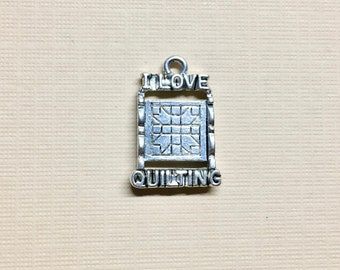 I Love Quilting Silver Plated Charm Pendant Love to Quilt 13mm x 20mm Made in the USA One Charm F180A