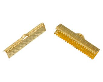 20 Textured Gold Plated Steel Ribbon Clamp Clasps Crimp End Clasps with Loop 25mm 20 pcs F145