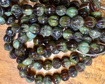 8mm Melon Beads Amber Sage Green Picasso Czech Pressed Glass Round Corrugated Melon Beads 8mm 20 beads