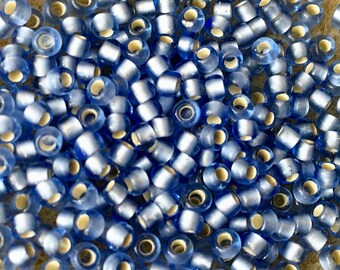 8/0 Silver Lined Frosted Light Sapphire Toho Glass Seed Beads 2.5 inch tube 8 grams TR-08-33F