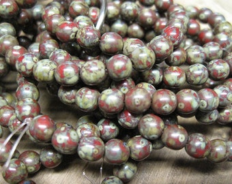 25 Red Picasso Czech Pressed Glass Round Druk Beads 6mm