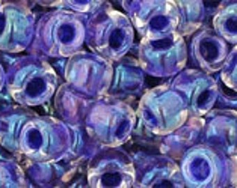 6/0 Rainbow Crystal Tanzanite Lined Toho Glass Seed Beads 2.5 inch tube 8 grams TR-06-181