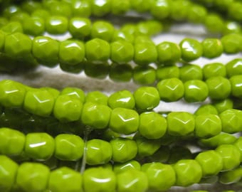 Opaque Avocado Green Pea Green Czech Glass Firepolished Crystal Beads 4mm