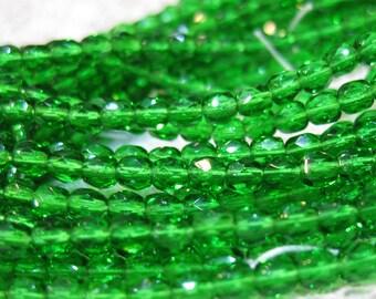 Dark Grass Green Czech Glass Firepolished Crystal Beads 4mm 50 beads