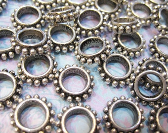 20 Antiqued Silver Finished Copper Coated Plastic Daisy Rondelles Large Hole Beads 14mm x 4mm F307