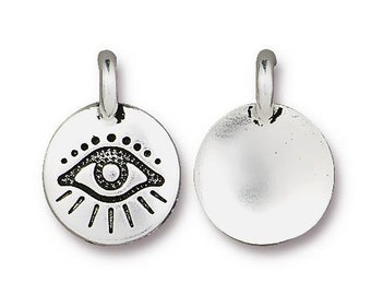 Evil Eye Yoga Meditation Protection Antique Silver Charm TierraCast Lead Free Pewter 17mm x 12mm 1 pc