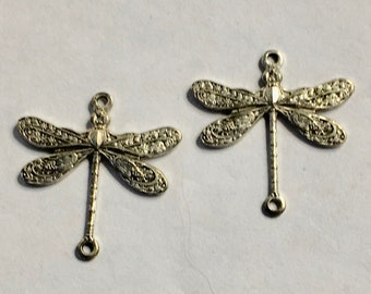 4 Dragonfly Connectors Antique Silver Plated Brass Charm Dangle 17mm x 18mm Made in the USA 4 pcs