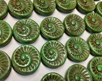 Clearance 6 Opaque Green Turquoise Picasso Spiral Beads Czech Glass Round Coin Ammonite Nautilus Shell Swirl Beads 18mm 6 pcs