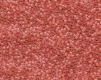 11/0 Miyuki Delica Lined Rose Pink AB Glass Seed Beads 7.2 grams DB0070
