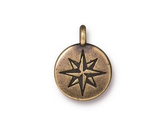 North Star TierraCast Antique Oxized Brass Charm Double Sided 14.5mm x 11mm Lead Free Pewter One Charm
