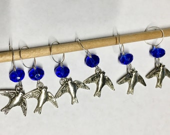 Happy Birds Stitch Markers with Blue Glass Crystal Rondelle Beads Snag Free Fits Up to Size 15 Needles Set of 6