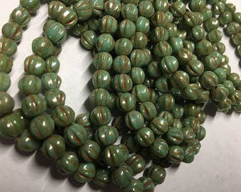 6mm Melon Beads Green Turquoise Picasso Czech Pressed Glass Round Corrugated Melon Beads 6mm 25 beads
