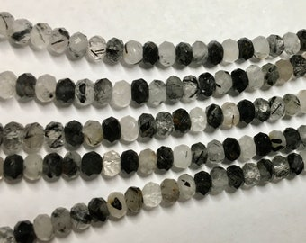 Black Tourmalinated Quartz Faceted Rondelles 5x3mm Approx. 56 beads per 8 inch strand
