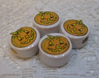 10 Jack o Lantern Pumpkin Halloween Peruvian Ceramic Large Hole Beads 14mm