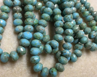 Turquoise Blue Picasso Czech Pressed Glass Medium Faceted Rondelles 5mm x 7mm 25 beads