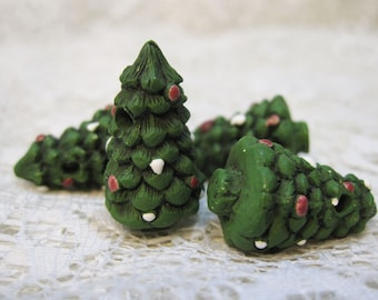 Large Peruvian Ceramic Christmas Tree Beads with Matte Finish 26mm