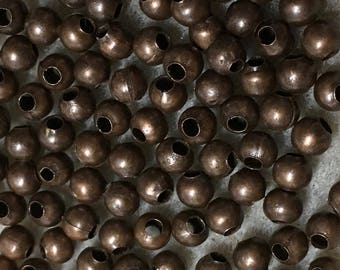 100 Antique Copper Plated Brass Smooth Round Beads 3mm Made in the USA F455