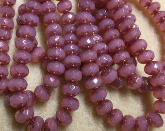 Rose Pink Opal Czech Pressed Glass Medium Faceted Rondelles 5mm x 7mm with Gold Purple Finish 25 beads