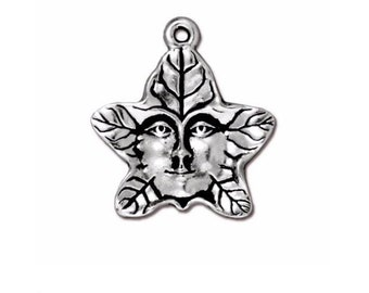 Antique Silver Tree Spirit Double Sided Charms TierraCast Lead Free Pewter 19mm x 21.75mm One Charm F563G
