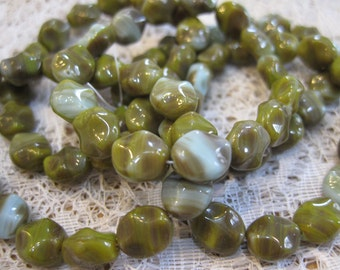 15 Avocado Green Light Blue Czech Pressed Glass Carved Oval Beads 9x8mm Last Ones