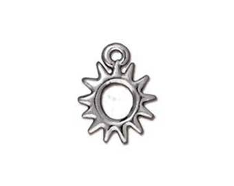 2 Antique Silver Radiant Sun Drop Charms TierraCast Lead Free Pewter 14mm x 11mm F155G
