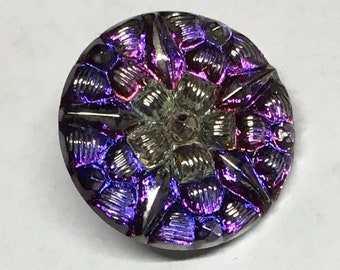 Radiant Orchid Patterned Czech Glass Button with Silver Star Pattern Detail with Metal Shank 18mm
