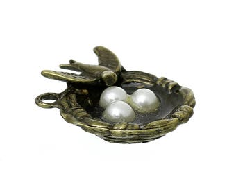 2 Bird Nest Antique Bronze Charms Pendants Double Sided Charm Acrylic Pearl Beads 23mm x22mm