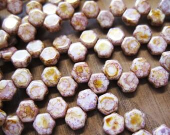 Honeycomb Beads Senegal Purple Honeycomb Czech Pressed Glass Hexagon Two Hole Beads 6mm 30 pcs