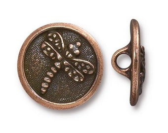 Dragonfly Button TierraCast Antique Copper 17mm One Button