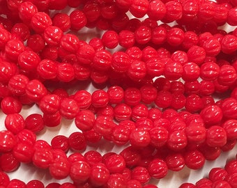 Melon Beads Red Opaque Czech Pressed Glass Round Beads 4mm 50 beads