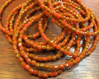 Orange Brick Opaque Czech Glass Firepolished Crystal Beads 3mm 50 beads