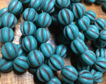 10mm Melon Beads Matte Blue Sea Green with Brown Wash Czech Pressed Glass Round Corrugated Melon Beads 10mm 15 beads