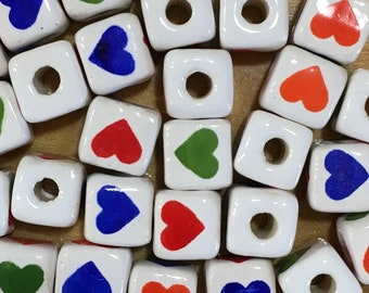 10 Heart Patterned Cube Beads Large Hole Peruvian Ceramic 4 Sided Design Large Hole Beads Red Orange Blue Green Hearts 9mm