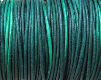 1mm Natural Dye Green Turquoise Round Leather Cord 2 yards for Wrap Bracelets Macrame Knotting Jewelry