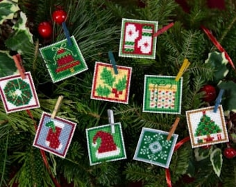 "Mill Hill  Advent Trilogy Set Two Christmas Ornament 9 Designs All Materials and Instructions 1.5"" x 1.5"""