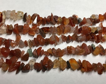 Carnelian Chips Gemstone Nugget Chipstone Beads Sizes Vary 8 Inch Strand