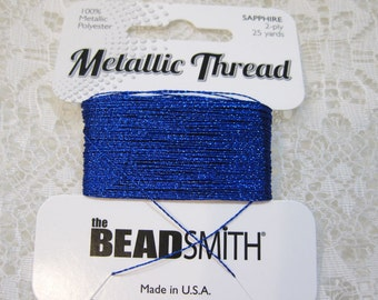 Sapphire Blue Metallic Polyester Thread 2 ply 25 yards