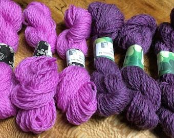 Yarn Minis 100% Peruvian Highland Wool 6 Mini Skeins Purple and Pink 240 yards