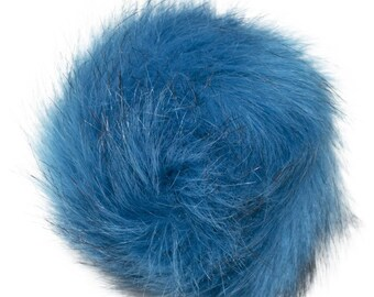 Extra Large Imitation Fur Faux Turquoise Fur Pom Pom Ball with Loop for Craft Projects Hat Decoration Knitting Crochet 127mm 5 inches