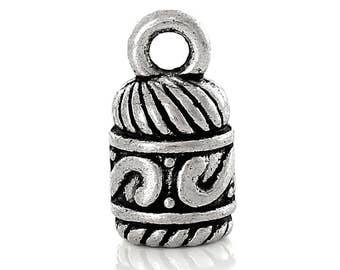 10 Antique Silver Plated Pewter Glue In Cord Ends 14mm x 7mm for 4mm Cord or Kumihimo End Caps F348