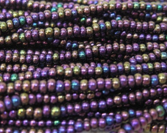 11/0 Purple Iris Genuine Czech Glass Preciosa Rocaille Seed Beads 19g