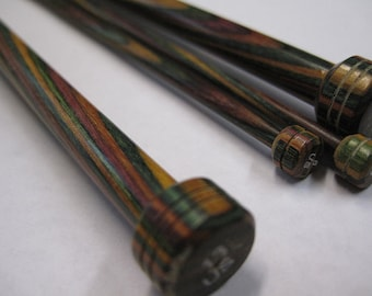 Harmony Rainbow Wood Knitting Needles 10 inch Long Size 17