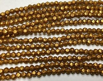 Matte Metallic Antique Gold Czech Pressed Glass Tiny English Cut 3mm Approx. 50 beads