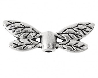 Dragonfly Wing Beads Antique Silver Approx. 22mm x 8mm 10 pcs C162B